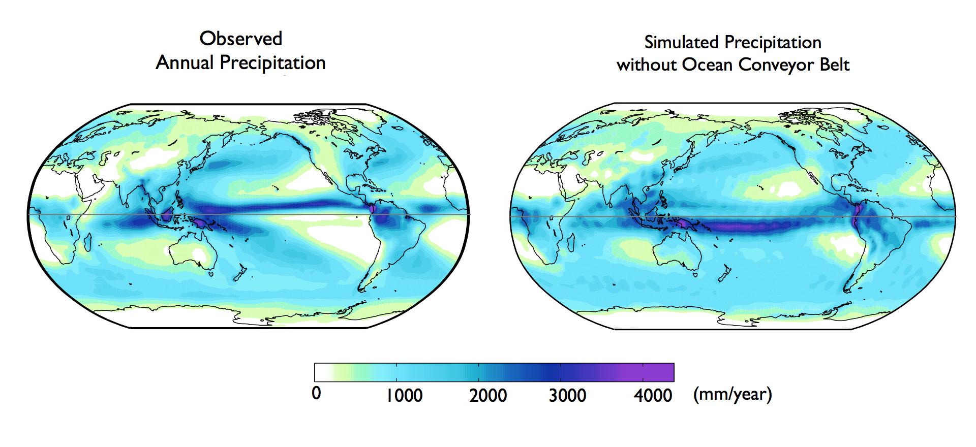 Le correnti oceaniche spiegano perché l'emisfero boreale è il più piovoso