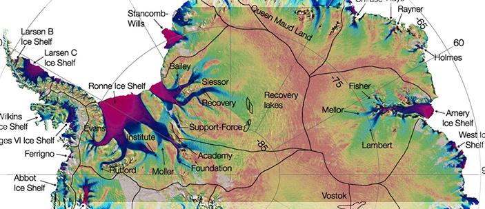 Strisce di terra sotto il ghiaccio frenano il flusso dei ghiacciai